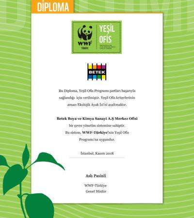 Betek Boya Genel Müdürlüğü 'Yeşil Ofis' Diploması Aldı