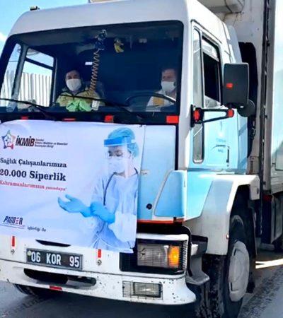 İKMİB Sağlık Çalışanlarına 110 bin Siperli Maske Teslim Etti